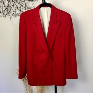 100 percent wool vintage red blazer. Buttons